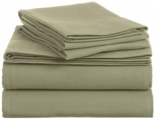 Clara Clark 100-Percent Egyptian Cotton Flannel 4-Piece Bed Sheet Set, Queen, Sage Green