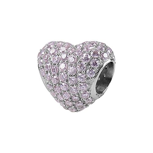 AURA BY TJM 925 SS BEAD WHITE RHODIUM FINISH SET WITH 3.63 CTW FACET CUT, ROUND PINK CZ