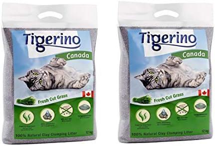 Tigerino Canada Fresh Cut Grass - Arena para gatos (2 unidades de 12 kg)
