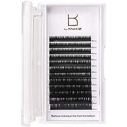 LANKIZ 3D Eyelash Extensions C Curl 0.15mm - Volume False Lash Extensions 8-14mm Mixed Tray, 3D Individual Lashes Soft Faux Mink Eyelashes Extension, Natural Black Eyelash Extension Supplies for Salon