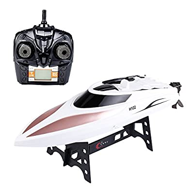 IAMGlobal RC Boat, H102 High Speed Remote Control Boat, 2.4GHz Fast Double Layer Waterproof Cover RC Boat, Radio Controlled Toy, RC Racing Boat with LCD Screen for Outdoor