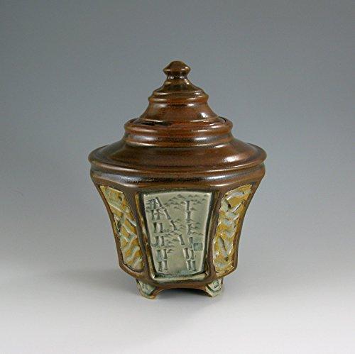 Design Stoneware (Pet Urn, Small Urn, Carved Stoneware Bamboo Design Jar, 60 cubic inch (#10))