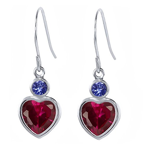 2.16 Ct Heart Shape Red Created Ruby Blue Tanzanite 925 Sterling Silver Earrings