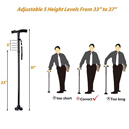 Ohuhu Folding Walking Cane with LED Light, Adjustable Walking Stick with Carrying Bag for Fathers Mothers Christmas Gifts by Ohuhu (Image #3)