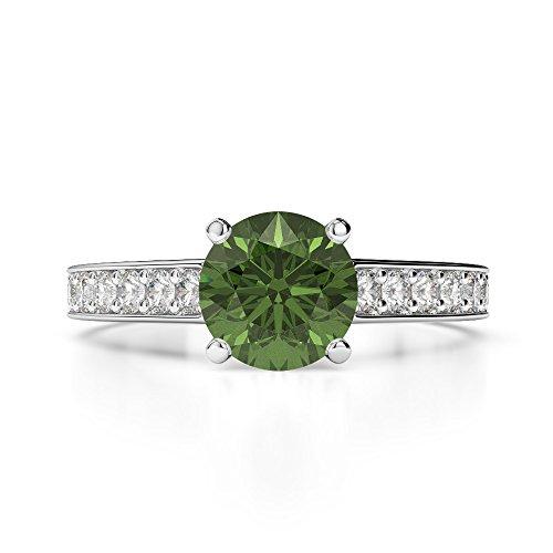 Or blanc 18carats 1CT G-H/VS sertie de diamants ronds Cut Tourmaline verte et bague de fiançailles Agdr-1222
