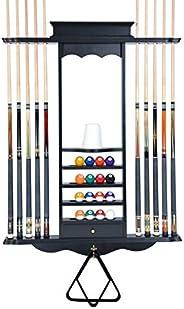 Cue Rack Only- 10 Pool - Billiard Stick & Ball Wall Rack Choose Oak, Black or Mahogany Finish Made of