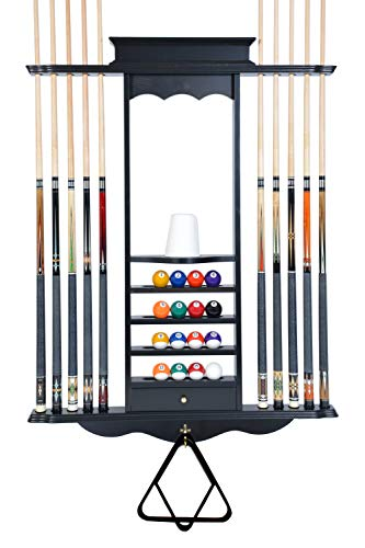 Cue Rack Only- 10 Pool - Billiard Stick & Ball Wall Rack Choose Mahogany, Black or Oak Made of Wood (Black)