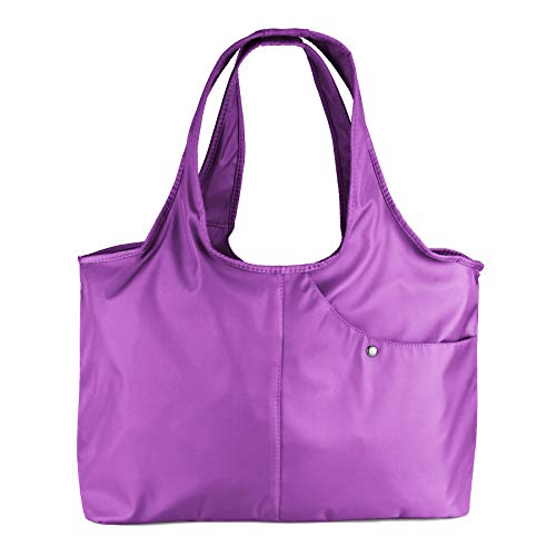 ZOOEASS Women Fashion Large Tote Shoulder Handbag Waterproof Tote Bag Multi-function Nylon Travel Shoulder(Light Purple)