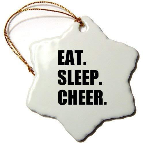 Dozili Christmas Tree Decoration Eat Sleep Cheer Passionate About Cheerleading Fun Cheerleader Team 3 inch Ceramic Ornaments Merry Gifts