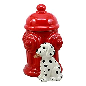 Ebros Ceramic Firehouse Dalmatian Puppy With Fire Hydrant Cookie Jar Decorative Kitchen Accessory Figurine