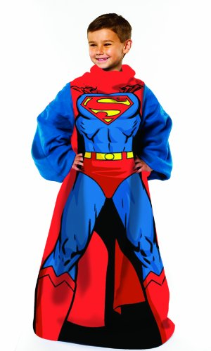 Warner Brothers DC comics Superman, Being Superman Youth Comfy Throw Blanket with Sleeves, 48