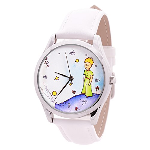 Watch For Men And Women - Japan Movt - White Leather Band - Quartz Analog Unisex Wrist Watch 38mm - The Little Prince - Best Original Unique Avesome Gift To Lovers Of Books