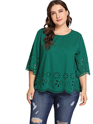 (Romwe Women's Plus Size Hollow Out Scallop 3/4 Sleeve Blouse Top Green 0XL)