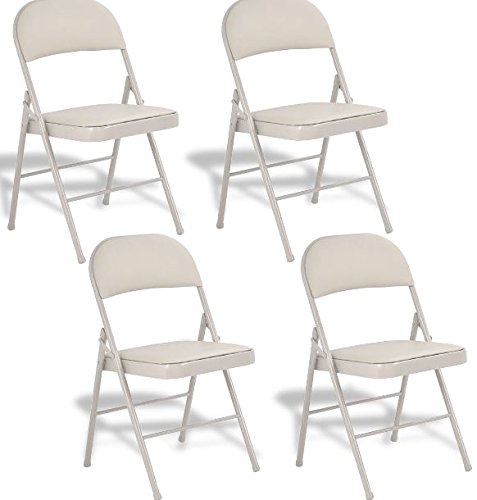 K&A Company Plastic Folding Chairs Commercial Stackable Chair Wedding Party Event Pack Quality Premium Lb Seat Back Set of 4 Beige