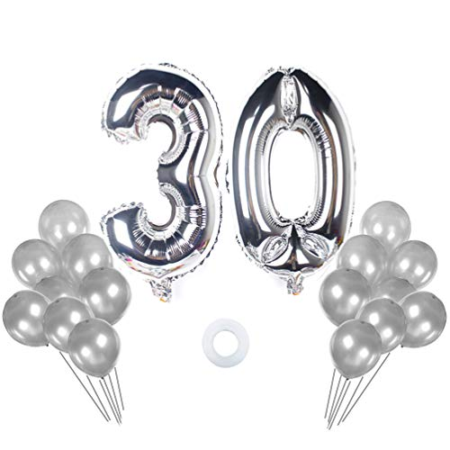 40 In Number 30 Balloon Kit Gaint Jumbo Silver Foil Mylar Balloons for 30 Birthday Party Anniversary Celebrate Parties Decorations (silver 30 with latex -