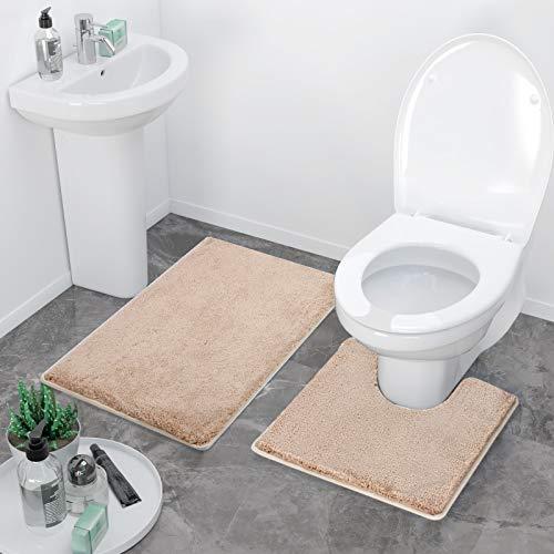 MENMA Luxury Toilet Mats Sets, Light Beige Shaggy Ultra Soft Dense Version 20×20 U-Shaped Toilet Contour Mats & 30×20…