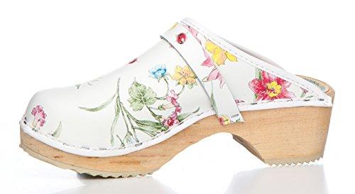 Original Schwedenclogs - Weiß mit Blumenmotiven