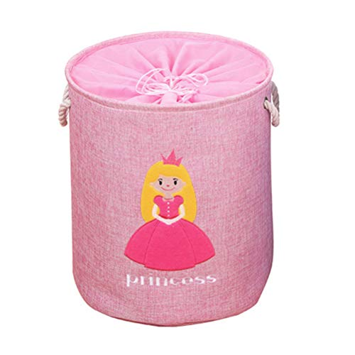 Fieans Large Nursery Storage Bins Foldable Toy Basket Baby Girl Laundry Hamper with Handles Cute Home Decor Gift Basket - Pink/Princess