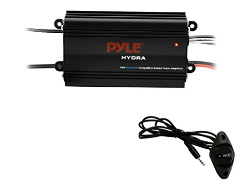 Pyle Auto 4-Channel Bridgeable Marine Amplifier - 200 Watt RMS 4 OHM Full Range Stereo with Wireless Bluetooth & Powerful Prime Speaker - High Crossover HD Music Audio Multi Channel System PLMRMB4CB ()
