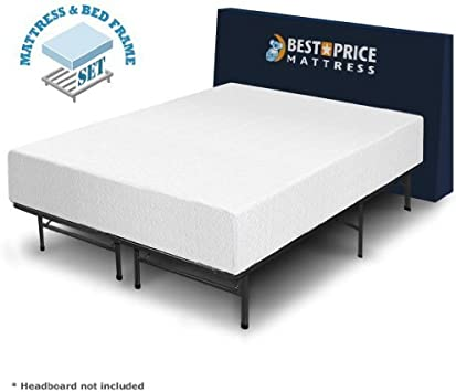 Amazon Com 12 Memory Foam Mattress And Bed Frame Set Full