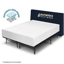 """Best Price Mattress 12"""" Memory Foam Mattress & Bed Frame Set, King"""