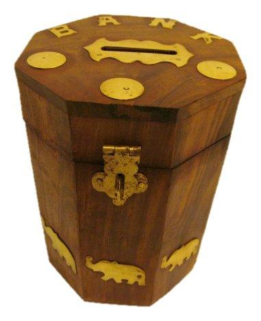 Jbj Octanle Money Bank With Elephant Brass Work