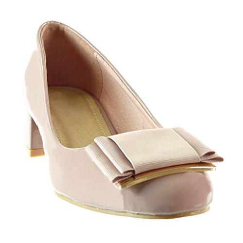 Angkorly Mode Chaussure on Slip Haut Femme Rose CM Escarpin Noeud 4 Bloc Talon Verni decolleté rraRx5qw