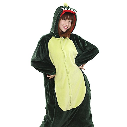 Make It Yourself Halloween Costumes For Couples (Blackdeer Unisex Adult Pajamas - Plush Cosplay Dinosaur Animal Halloween Costume)