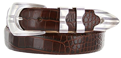 Hagora Men's Italian Calfskin Smooth Solid Sterling Silver Etched Buckle Belt,Alligator Brown (Sterling Silver Alligator)