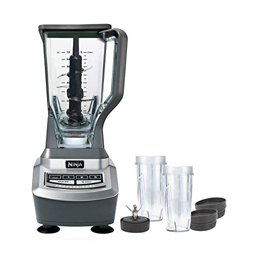 NinjaProfessional Blender System and Nutri NinjaCups with XL Pitcher 1100-Watt Motor Base Total Crushing 6 Blade Fin Assembly BL621 (Renewed)
