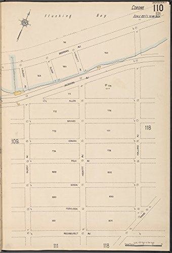 Map Poster - Queens V. 10, Plate No. 110 [Map bounded by Flushing Bay, Holland, Roosevelt Ave., Gilroy Ave.] 31.5