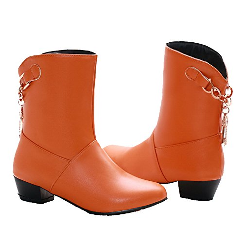 WeiPoot Solid Closed Boots Heels Toe Material on Low Women's Round Orange Soft Pull qCwBnrqf