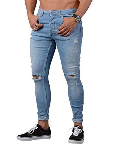 Estivi Casual Pantaloni Knee Uomo Leggeri Denim Chern Skinny Elasticizzati Hellblau Qk lannister At Da Con Ragazzo SEwnfq