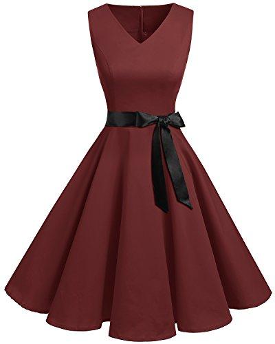 Bridesmay Women's V-Neck Audrey Hepburn 50s Vintage Elegant Floral Rockabilly Swing Cocktail Party Dress Burgundy M ()