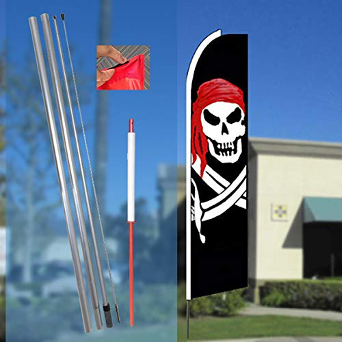 Aluminum Tube Stakes - PIRATE (Red Bandana) Flutter Feather Flag Bundle (11.5' Tall Flag, 15' Tall Flagpole, Ground Mount Stake)