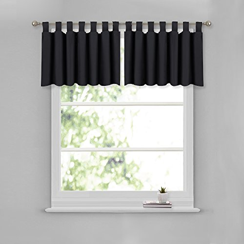 NICETOWN Window Dressing Blackout Valance for Bathroom - W52 x L18 Window Curtain Tier and Valance Tab Top Window Treatment Drape Drapery Panels for Kitchen Decor (Black, Set of 2 Pieces)