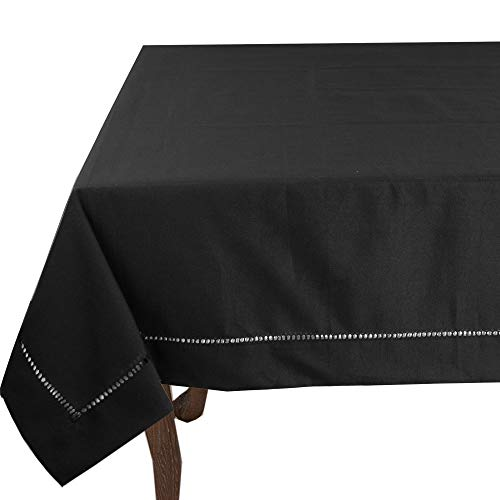 - Fennco Styles Rochester Collection Classic Solid Color Hemstitched Border Tabletop Collection for Dining Table, Dinner Parties, Wedding, Machine Washable, Black, 65 x 120 Inch Tablecloth