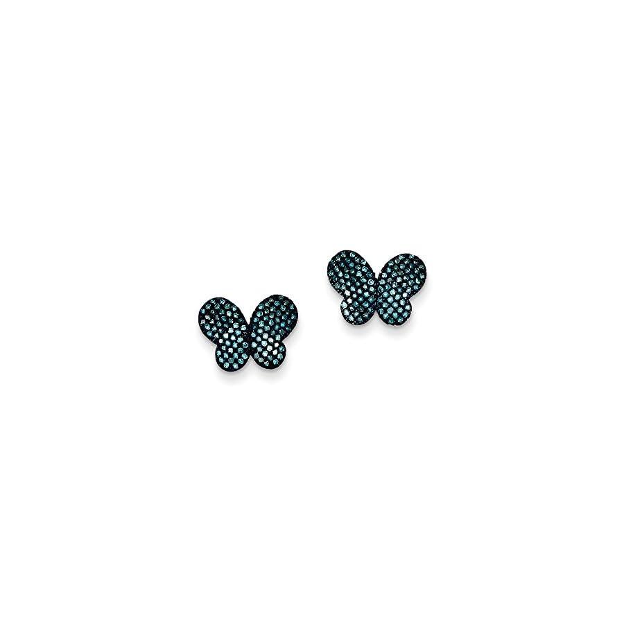 Sterling Silver Blue Diamond Butterfly Post Earrings, Sterling Silver