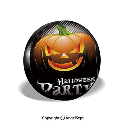 Tire Cover,Halloween Party Theme Scary Pumpkin on Abstract Modern Backdrop Spider Decorative,Silver Black Orange,for Jeep,Trailer, RV, SUV and Many Vehicle 15