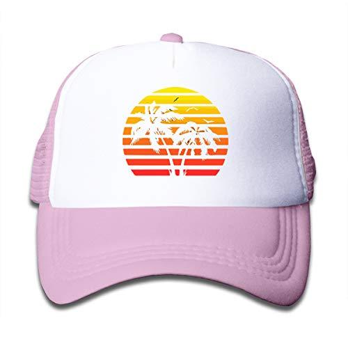 Hawaii 80s Sunset On Kids Trucker Hat, Youth Toddler Mesh Hats Baseball Cap Pink