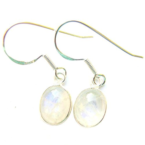 Sterling Silver Moonstone Oval Drop Earring