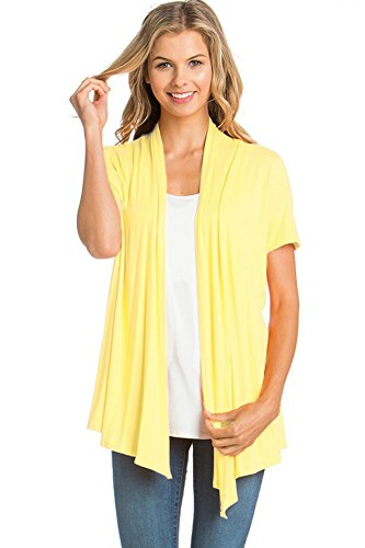 (12 Ami Basic Solid Short Sleeve Open Front Cardigan Yellow Large)