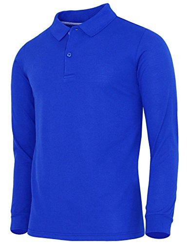 BCPOLO Men's Polo Shirt Cotton Pique Polo Shirt Long Sleeve Polo Shirt Cobalt US_Medium(Asian - Asian Polo Us