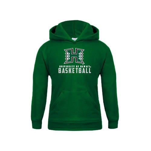 Hawaii Youth Dark Green Fleece Hoodie Basketball