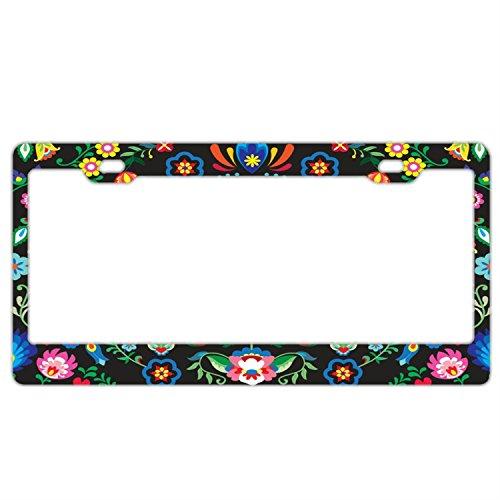 - Sugar Abstract Floral Black License Plate Holder - Stainless Steel Metal License Plate Frame for Women,License Plate Frames Humor