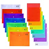 42 Pcs 2 Types Poly Snap Envelopes Plastic Document Folder Envelope with Snap Button Closure and L-Type Waterproof Document Project Pockets,Clear Plastic, A4 Letter Size 7 Assorted Colors