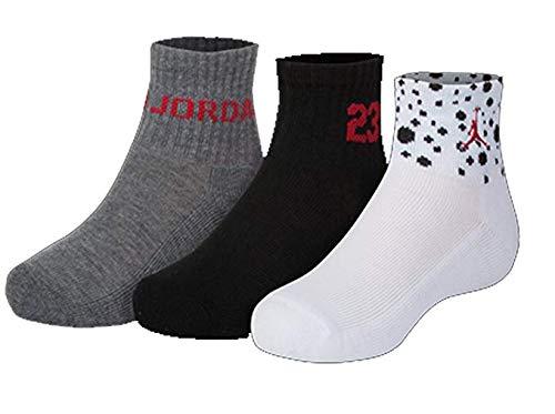Nike Air Jordan Boys 3PK Quater Socks (7-9 (Shoe 3Y-5Y), White/Black/Dark Grey) (Jordan Shoes Multicolored)