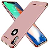 TORRAS [Lock Series] iPhone X Case/iPhone Xs Case, Thin 3 in 1 Hybrid Hard Plastic Matte Finish Slim Cover Anti-Scratch Phone Case for iPhone Xs/X 5.8', Rose Gold