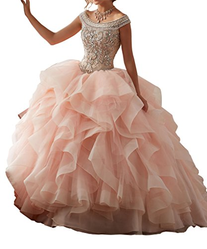 Yang 2017 Women Boat Neck Beaded Ball Gowns Sweet Girls 16 Quinceanera Dresses 8 US Nude Pink