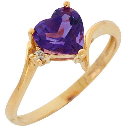 14k Gold Real Heart Cut Amethyst and Genuine Diamond Accented Ladies Fancy (Fancy Cut Amethyst Ring)